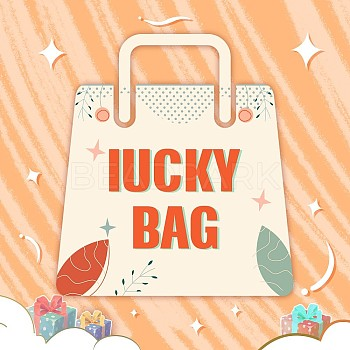 Luck Bag, include Mixed Unfinished & Dyed Wood Beads, Printed Wooden Charms, Laser Cut Wood Shapes Charms, Mixed Color, 10~105mm
