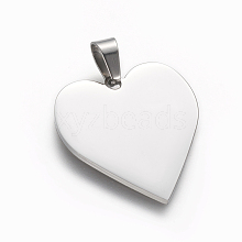 304 Stainless Steel Stamping Blank Tag Pendants STAS-F213-02P