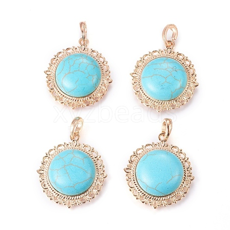 Golden Tone Alloy Synthetic Turquoise Pendants X-PALLOY-20658-RS-1