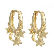 Brass Huggie Hoop Earrings EJEW-K083-44G