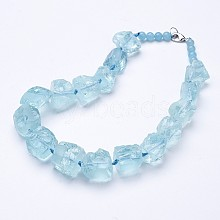 Rough Synthetic Aquamarine Beaded Necklaces NJEW-G924-03