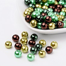Choc-Mint Mix Pearlized Glass Pearl Beads HY-X006-8mm-04