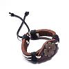 Adjustable Casual Unisex Flower Leather BraceletsBJEW-BB15621-4