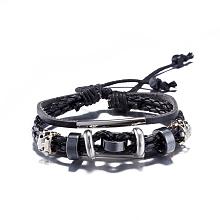 Adjustable Casual Unisex Zinc Alloy and Braided Leather Multi-strand Bracelets BJEW-BB15639-B