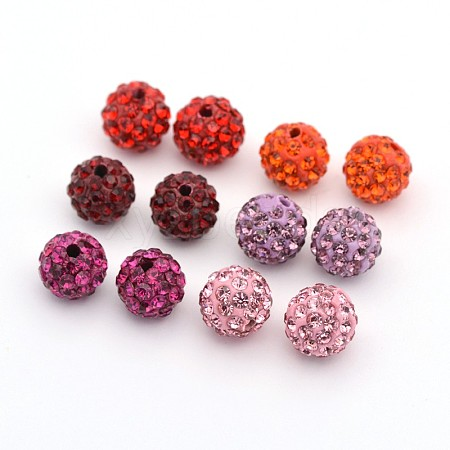 Round Pave Disco Ball Polymer Clay Rhinestone Beads RB-X0003-01-1