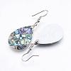 Abalone Shell/Paua ShellDangle EarringsX-EJEW-F147-C03-2
