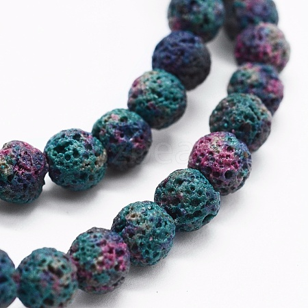 Natural Lava Beads StrandsX-G-K257-01A-6mm-1