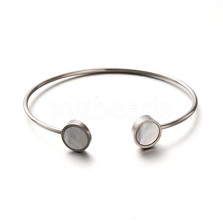 New Nice Fashion Hot Selling 304 Stainless Steel Shell Cuff Torque Bangles X-BJEW-F146-039P-1