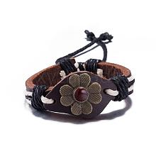 Adjustable Casual Unisex Flower Leather Bracelets BJEW-BB15621