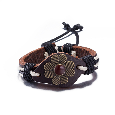 Adjustable Casual Unisex Flower Leather BraceletsBJEW-BB15621-1