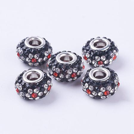 Flower Pattern Resin Rhinestone Large Hole Beads for European Style add Snake Chains X-RPDL-Q001-2-1