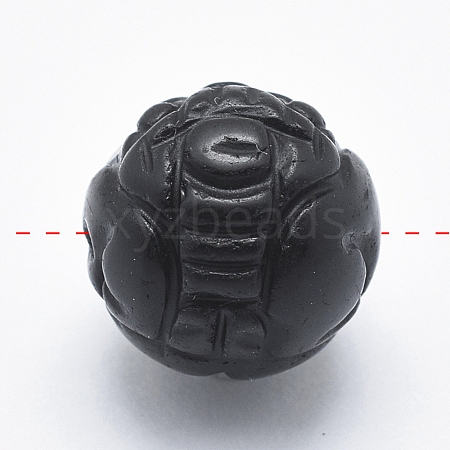 Carved Natural Obsidian BeadsG-P360-01-10mm-1