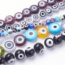 Handmade Evil Eye Lampwork Beads Strands LAMP-E017-06