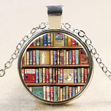 Book Pattern Flat Round Glass Pendant Necklaces NJEW-N0051-029B-02