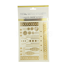 Cool Body Art Mixed Floral Pattern Removable Fake Temporary Tattoos Metallic Paper Stickers AJEW-I008-08