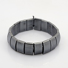 Magnetic Hematite Rectangle Beads Stretch Bracelets for Valentine's Day Gift BJEW-M066-09